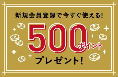 今なら新規会員登録ですぐ使える500ポイントプレゼント!