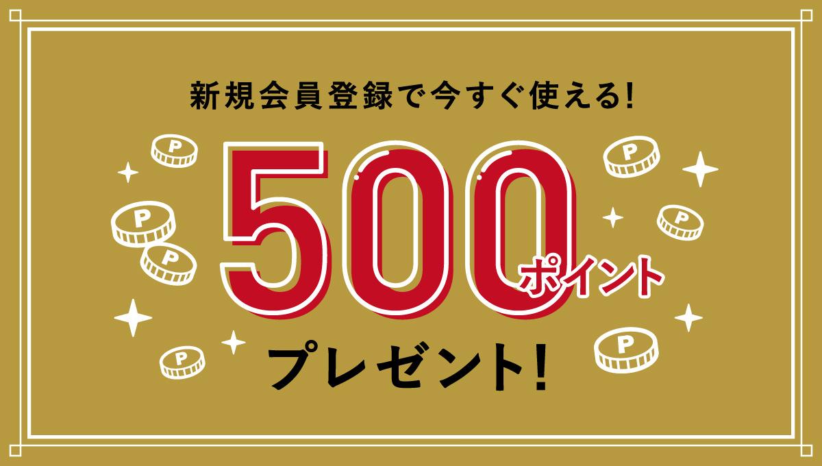 新規会員登録で今すぐ使える!500ポイントプレゼント!